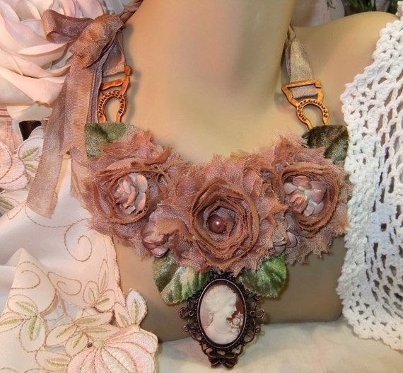 Mocha Chiffon & Paper Roses with Copper Ox Cameo, Millinery Leaves and Garter Hardware