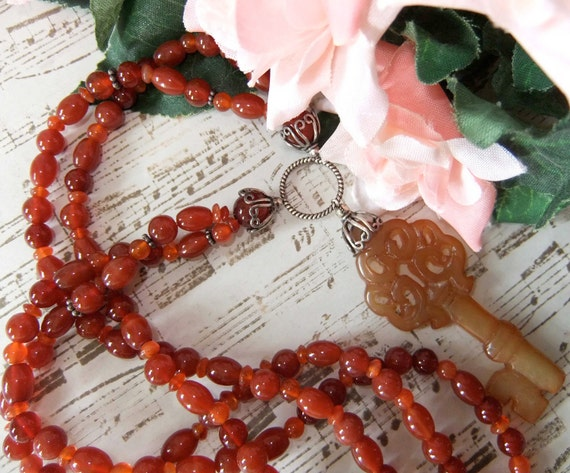 Sterling Silver Carnelian and New Jade Key Necklace