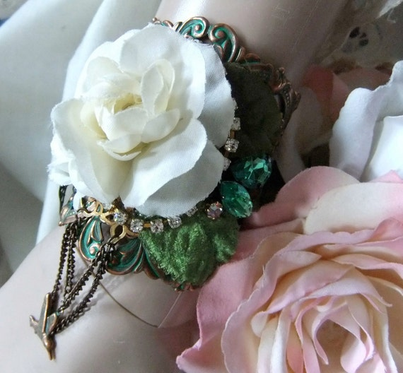 Green Patina Copper Ox Filigree Cuff with Roses, Leaves, Butterfly and Rhinestones