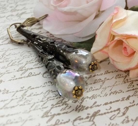 Aurora Borealis Glass Bead in Blackened Antique Brass Filigree Cone