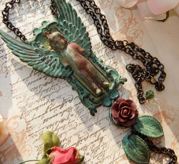 RESERVED FOR ANA Frozen Charlotte Angel with Rose, Rhinestone, Lace and Leaves in Raku & Verdigris Necklace