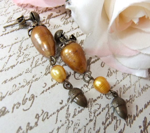 Fall Foliage Pearls and Acorn earring