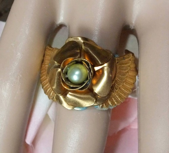 Brass Tiny Wings and Rose Ring With Pearl