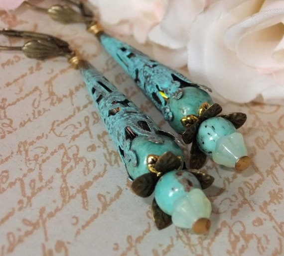 Verdigris Patina Filigree Bead Cap Earrings with Turquoise and Swarowski AB Crystals and Brass