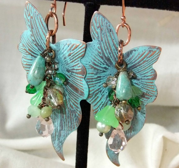 RESERVED For Ilse Verdigris Patina Filigree Bead Cluster Earrings with Turquoise, Czech Crystals and Pearls