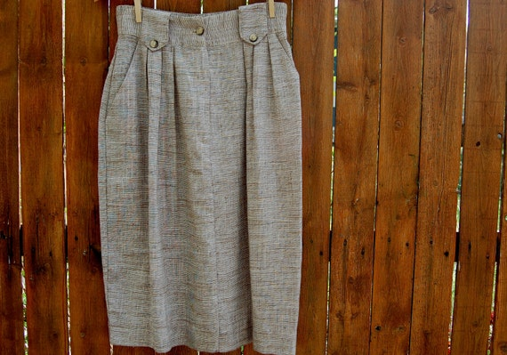 SALE Vintage Textured Pencil Skirt // Brown // 1970s or 1980s // Pockets // Small Medium // Humane Society donation