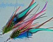 Pink, turquoise, orange, lime green, peach, brown, black,black and grizzly long feather earrings