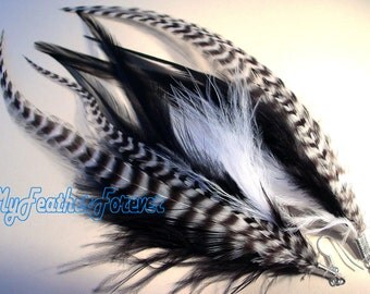 Black and white long grizzly feather earrings