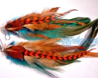 Long feather earrings, teal blue brown earrings,  orange grizzly feather earrings, feather jewelry, feather gift, orange earrings
