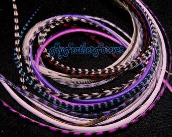 Purple 6 FEATHER extension 9'' -12 '' long b/w grizzly pink purple blue blonde purple white black beige 4 bead