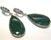 48.80ct NATURAL GREEN EMERALD and diamond pave 14k white gold dangling earrings