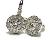 Reserved....1.51ct Diamond earrings MICRO PAVE halo liver back in 18k white gold euro wire