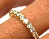 ETERNITY 14k yellow gold Band with Round cut Diamonds