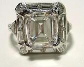 Reserved....3.17ct Antique AUTHENTIC ART DECO Emerald Cut Diamond Engagement Ring in Platinum
