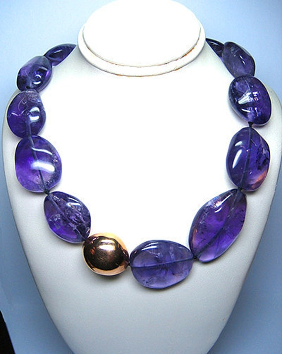 AMETHYST and 18k PINK Gold bid necklace
