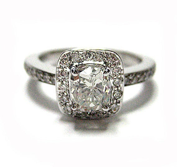 1.30ct Antique Vintage Style Cushion Diamond Engagement Ring in White Gold