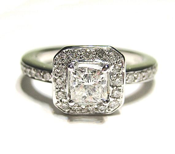 Items similar to 0 90ct Antique Vintage Style Square PRINCESS Diamond ENGAGEM