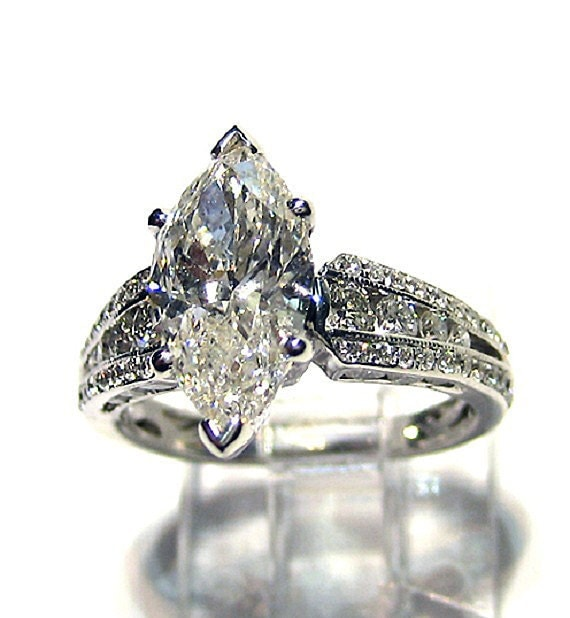 Items similar to Reserved 3 45ct Antique Vintage MARQUISE Cut DIAMOND ENGAG