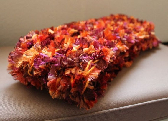 Colorful Eyelash Scarf - Leaves Orange  Knitted Soft