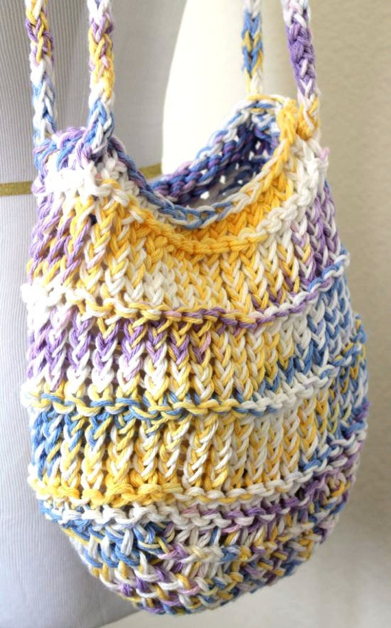 Knitted Tote Bag Pattern : Loom Knit Bag Cotton Mesh Pastel Tote