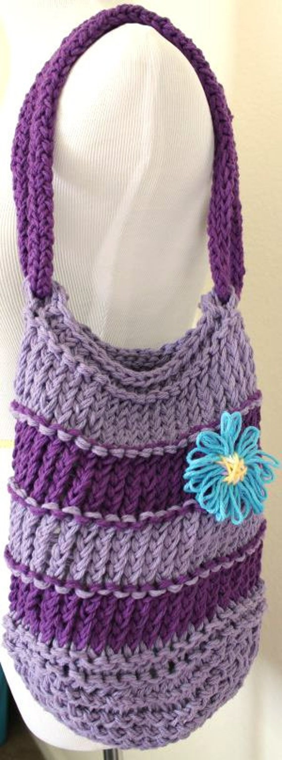 Cotton Knit Bag - Striped Purple Loom Knit bag with Blue Flower