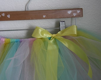 Pastel Tutu for toddler, girl or adult with matching headband for Spring and Summer theme