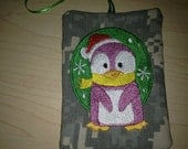 Christmas Ornament Gift Card Holder Keeper ACU Military Penguin theme wrapper