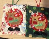 Christmas Ornament Gift Card Holder Keeper cash reindeer custom embroidered