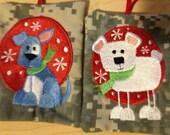 money Keeper cash Ornament Money polar bear custom embroidered, Christmas, Gift Card Holder