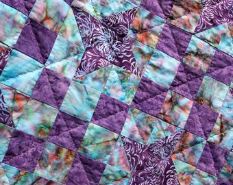 Batik Patchwork Quilt, Stardust  by PingWynny Made to Order