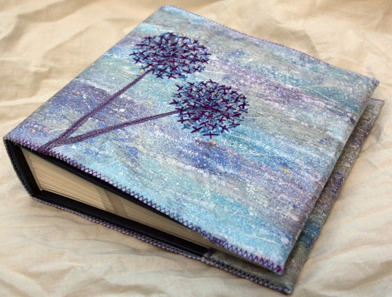 Embroidered Photo Album, Blue Alliums