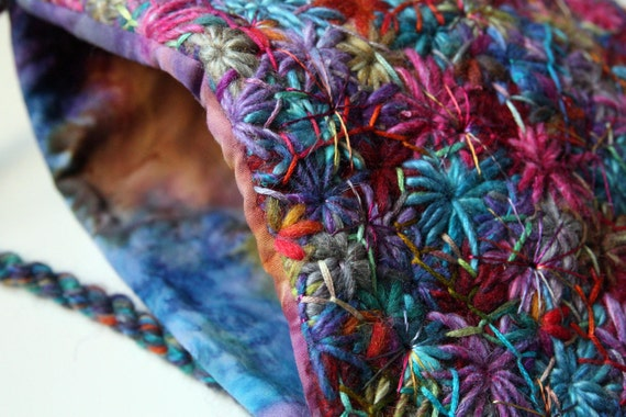 SALE Embroidered Rainbow Hand Bag
