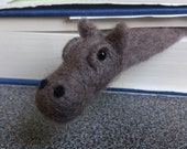 FREE SHIPPING Bookmark hippo needle felted gift under 25