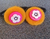 Pony tail holder hair elastics with needle felted and button decoration gift under 10 eco friendly