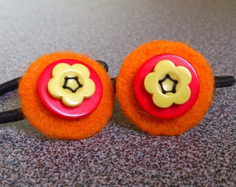 Pony tail holders set of two hair elastics with needle felted and button decoration gift for girl under 10 eco friendly