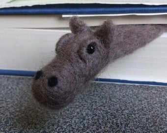 Bookmark hippo needle felted gift under 25