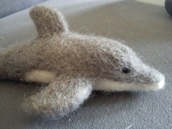 Dolphin needle felted gift under 30 dollars eco friendly