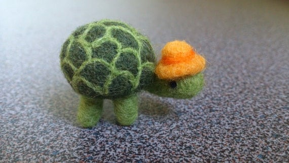 Needle felted miniature turtle with yellow and orange hat