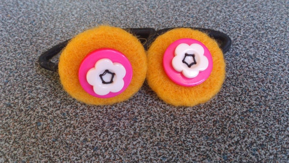 FREE SHIPPING Pony tail holder hair elastics with needle felted and button decoration gift under 10 eco friendly