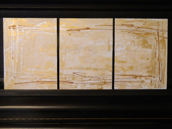 Three panels in Gold and White - abstract painting group