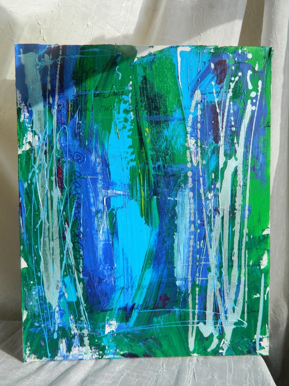 Blue Ocean Lettering Abstract - painting