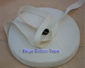 50 meter ( approx. 55 Yards) Solid Woven Twill Cotton Tape Trim 6 mm ( 1/4 Inch ) Wide  Beige color