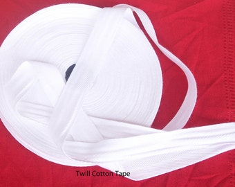 solid white cotton Trim twill Tape - 36 mm width x  10 meter Roll-sewing harringbone pattern fabric tape