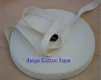 Twill white cotton Trim Tape - 12 mm width x  10 meter Roll-sewing shipping packaging