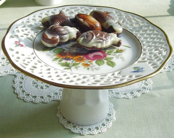 Pedestal Cake Stand - Single Cup Cake - Cake Pops -  Jewelry - 1980s Vintage - Reticulated - Winterling - Kirchenlamitz, Bavaria, Germany