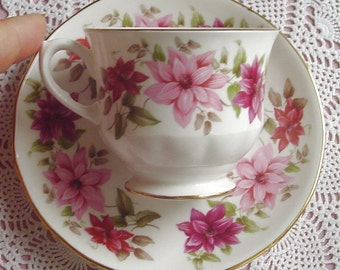 Pink Clematis - Reg. No. 8545 - 1960s Vintage - TEACUP & SAUCER - Queen Anne / Ridgway - Bone China - Stoke-on-Trent, Staffordshire, England