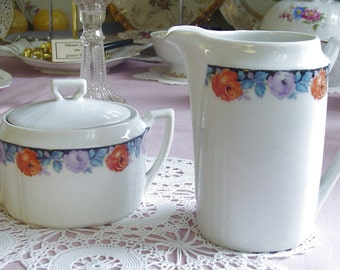 ART DECO - Creamer & Lidded Sugar Bowl - 1920s European Vintage China - Orange and Violet Roses - Blue Leaves - Black Trim