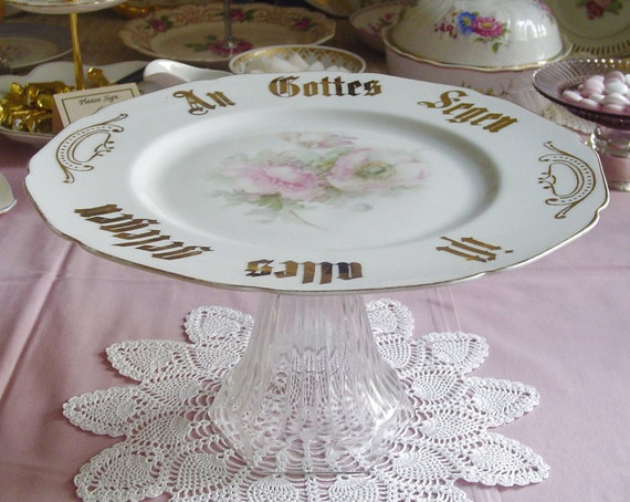 "Blessing Pedestal Cake Stand - ""An Gottes Segen ist alles gelegen"" - Cup Cakes - Cookies - 1930s Vintage - Hutschenreuther - Germany"