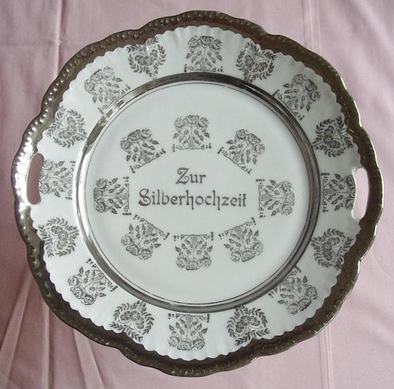 """25th Anniversary Cake Stand - """"Zur Silberhochzeit"""" - Silver Wedding - Renewed Vows - Cake - Cup Cakes - Pie - 1950s Vintage German China"""