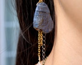 Sapphire Blue Agate Earrings